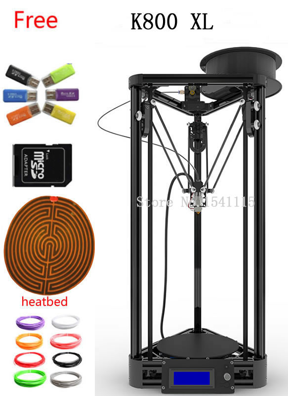 Newest gold black Kossel XL 3D Printer Rostock RepRap Full Kit Machine KOSSEL K800 XL 3D printer kit flsun 3d printer big pulley kossel 3d printer with one roll filament sd card fast shipping