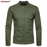 GustOmerD Autumn Winter New Fashion Solid Color Jackets Men High Quality Stand Collar Men Jacket Slim