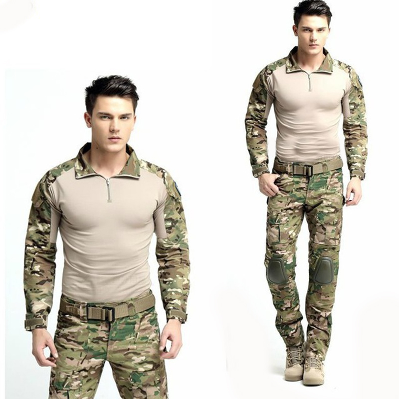цена Army Military Uniform Camouflage Tactical Combat Suit Airsoft War Game Clothing Shirt + Pants Elbow Knee Pads
