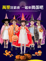 Boy Girl Kids Children Halloween Costumes Witch Wizard Cloak Gown Robe And Hat Cap Stars
