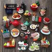 Aimant en résine coloré et créatif | Théière/œuf/glace/café/lait simulé réfrigérateur alimentaire, décorations intérieures 1 pièce/lot