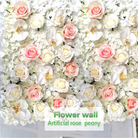 Artificial Silk Rose Butterfly Orchid Flower Wall Wedding Background Peony Phalaenopsis Road Lead Hotel Background Wall Decor