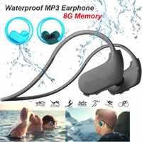 Fashion Outdoor IPX8 Dustproof Waterproof MP3 Player Sport MP3 Headphone HiFi Music 8G Memory Swimming Diving Running Earphones.