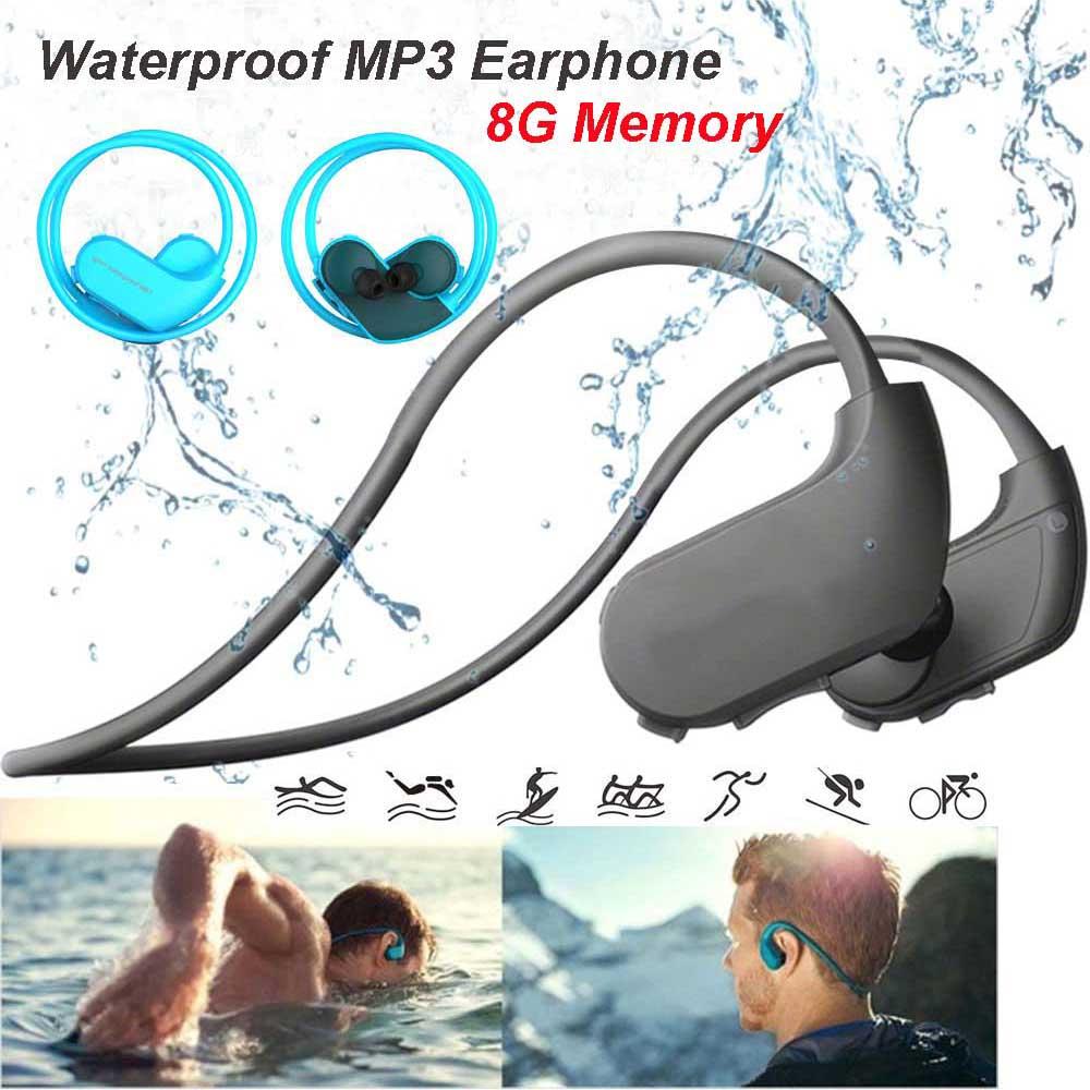 Mode extérieur IPX8 étanche à la poussière MP3 lecteur Sport MP3 casque HiFi musique 8G mémoire natation plongée en cours d'exécution écouteurs.