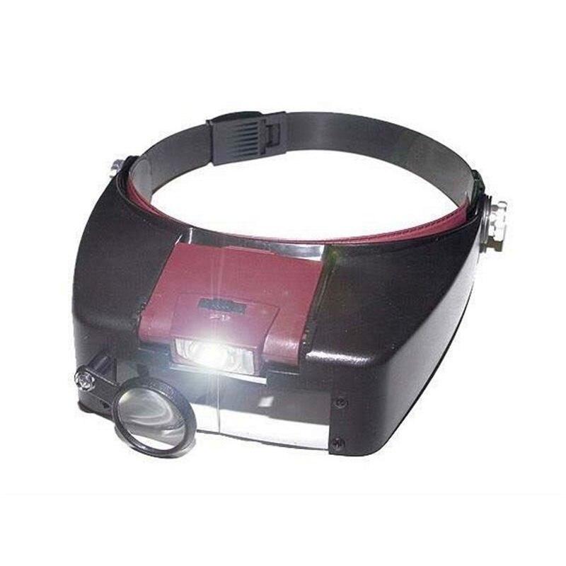 10X Lupa Lupa Lupy podświetlane Oświetlony Okulary Głowy Regulowany Headbrand Trzecia ręka Instrumentem Optycznym