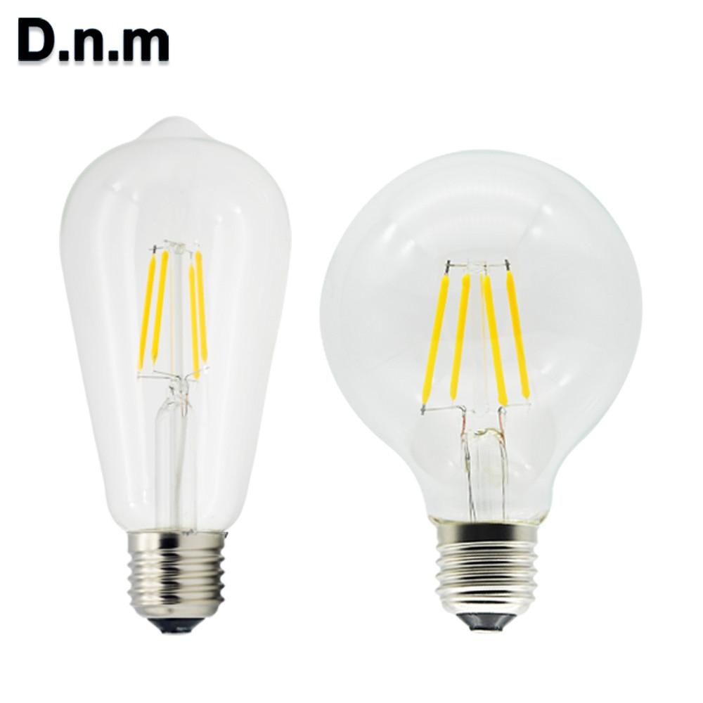 D.N.M Vintage Led Filament Bulb E27 Bombillas Led Edison Bulb 220V COB 2W 4W 6W Smart Holiday ST64 G80 Lampada Led Light Bulb