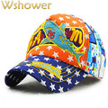 Cartoon Fisher Children Brand Cap Star Pattern Printed Kids Snapback Fashion Pink Hat Patchwork Baseball Cap Hiphop For Boy Girl