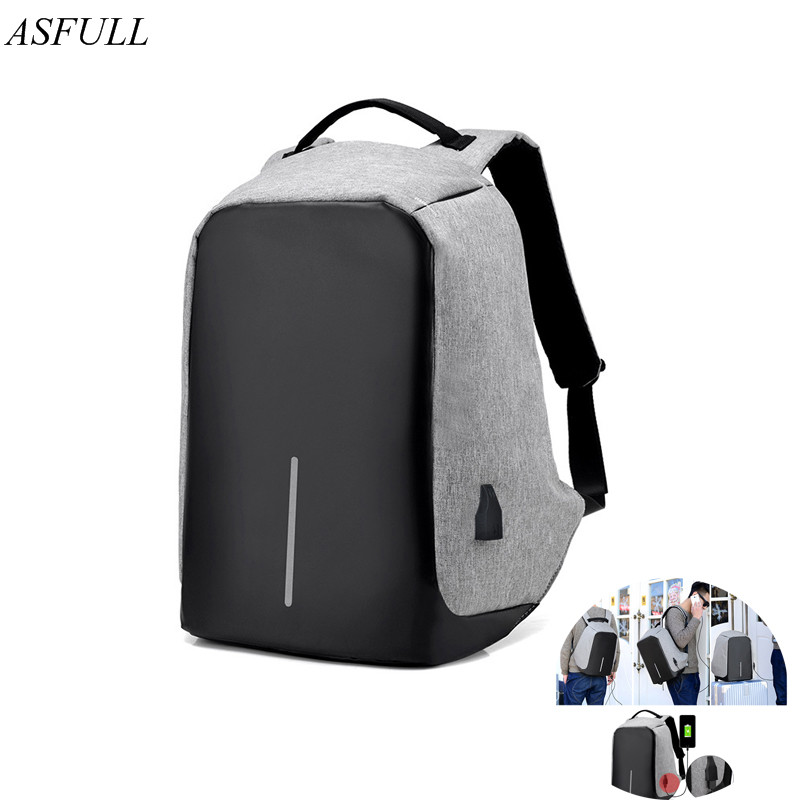 ASFULL USB Charge Organizador Anti Theft Backpack Men Travel Security Waterproof School Bags for College Teenage Laptop Backpack