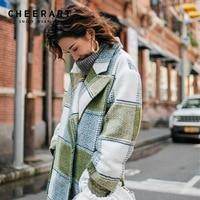Cheerart Plaid Wool Coat Women Long Green Coat Single Breasted Tweed Coat Winter Ladies High Fashion Designer Coat 2018