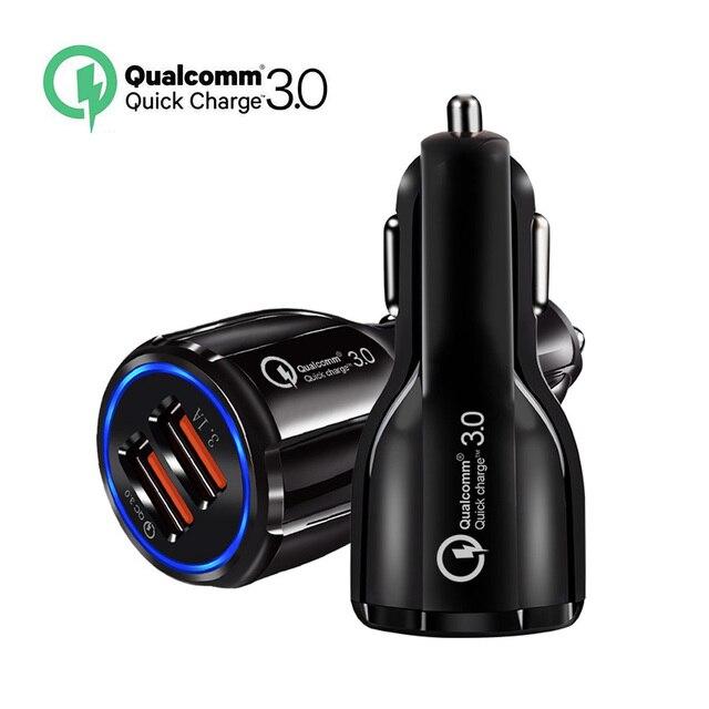 Cargador de coche de carga rápida 3,0 QC 3,0 adaptador de carga rápida Dual USB cargador de coche para iphone tipo Micro USB cargadores de Cable C
