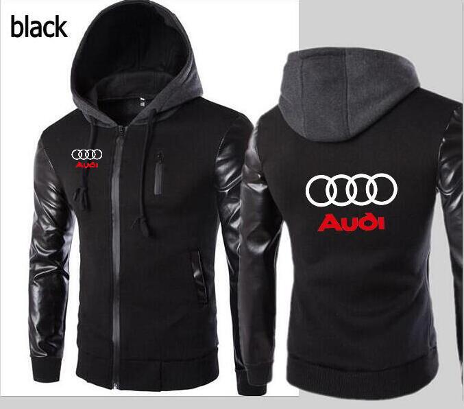 New fashion Audi volvo car hoodie hooded leather sleeve jacket men's sports jacket hooded Slim hoodie shirt