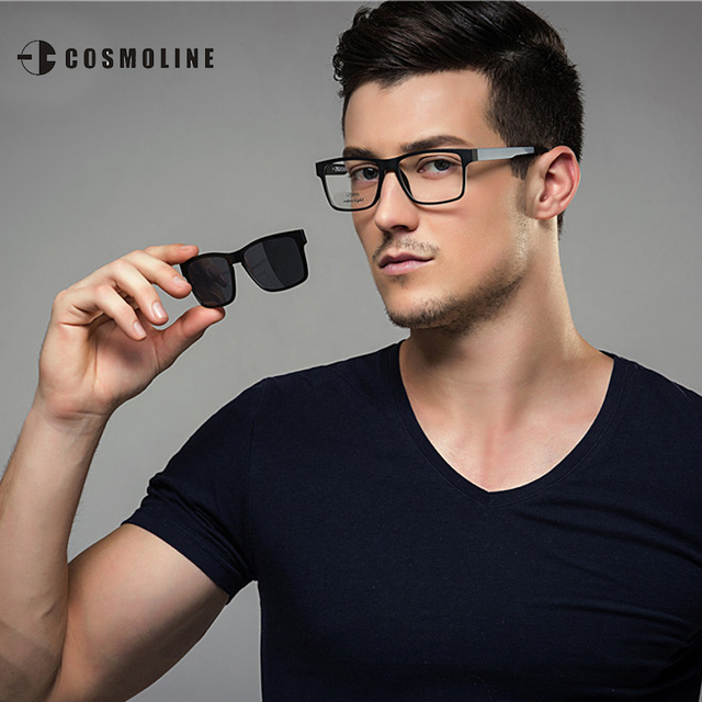 COSMOLINE Fashion Glasses Frame For Men Myopia Sunglasses Magnetic Clip On Spectacles Polarized Lens Frame Glasses 369