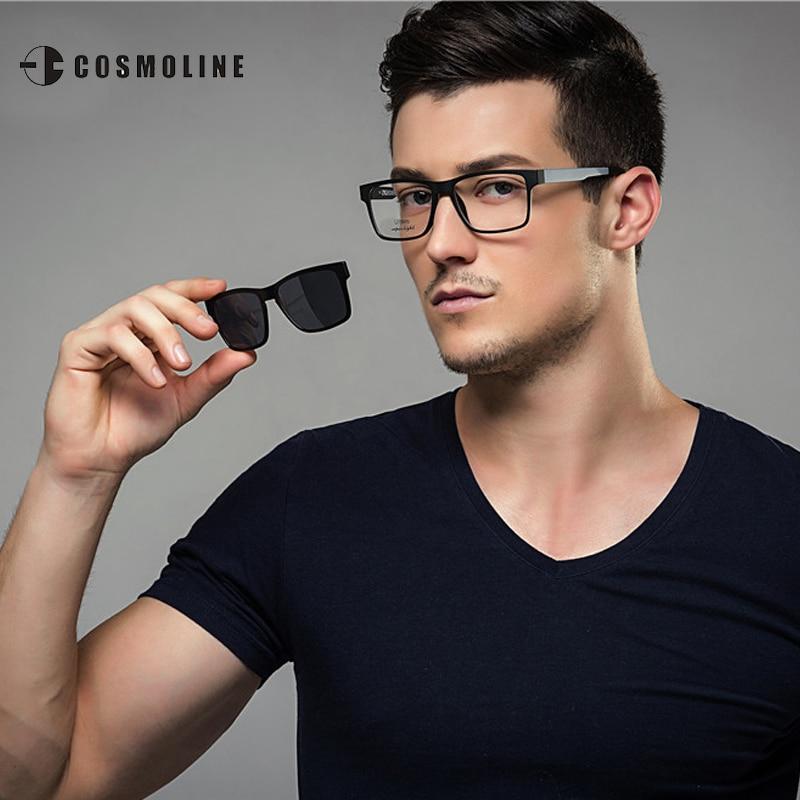 COSMOLINE Fashion <font><b>Glasses</b></font> <font><b>Frame</b></font> For Men Myopia Sunglasses Magnetic Clip On Spectacles Night Vision <font><b>Polarized</b></font> <font><b>Lens</b></font> 369