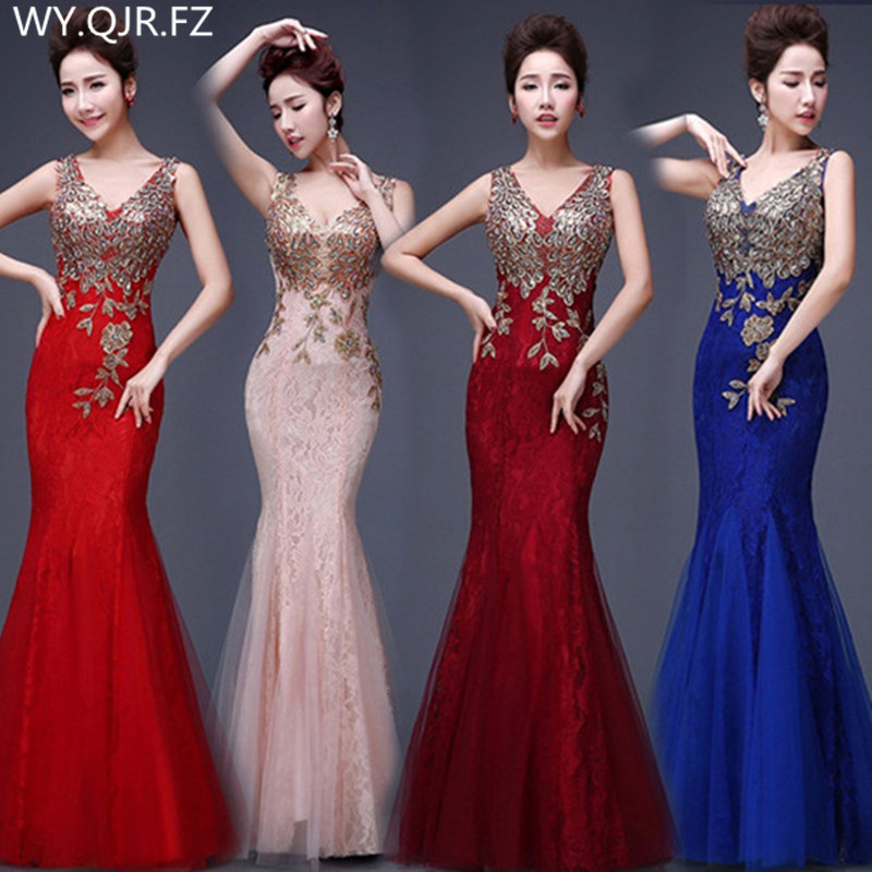 PTH-JSJ#Ladies'Evening Dresses Party Toast Gown New Spring Summer Fishtail 2020 Wine Pink Blue Lace Dress Long Cheap Wholesale