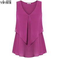 New Summer Style Sleeveless Women Ruffle Chiffon Blouse Tops Fashion V Neck Layerd Curved Hem Loose