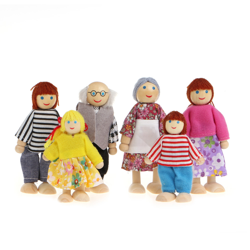 New 6Pcs Children Baby Wooden Puppet Doll Finger Toys Family Playing Educational Toy