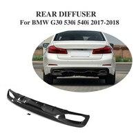 Rear Bumper Diffuser Lip Carbon Fiber For BMW 5 Series G30 Standard Sedan 4 Door 530i 540i 17-18 dual exhaust one outlet
