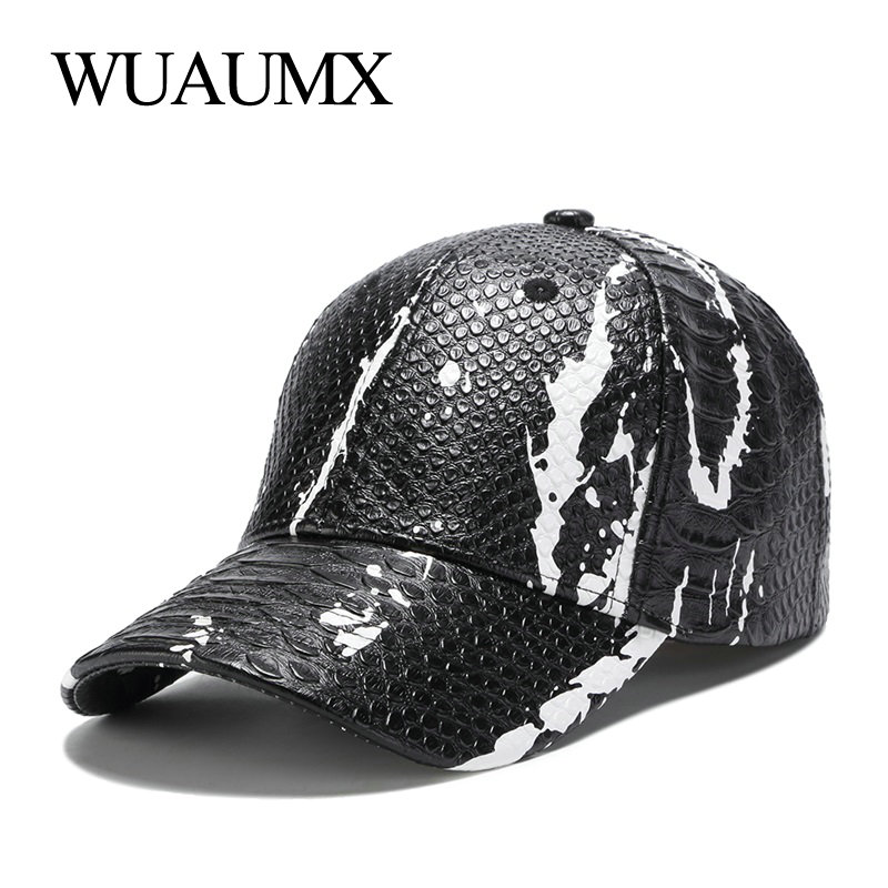 Wuaumx NEW PU Snake Leather   Baseball     Caps   For Men Women Casual Brand Faux Leather Snapback   Cap   Curved Peak Hip Hop Hat Wholesale