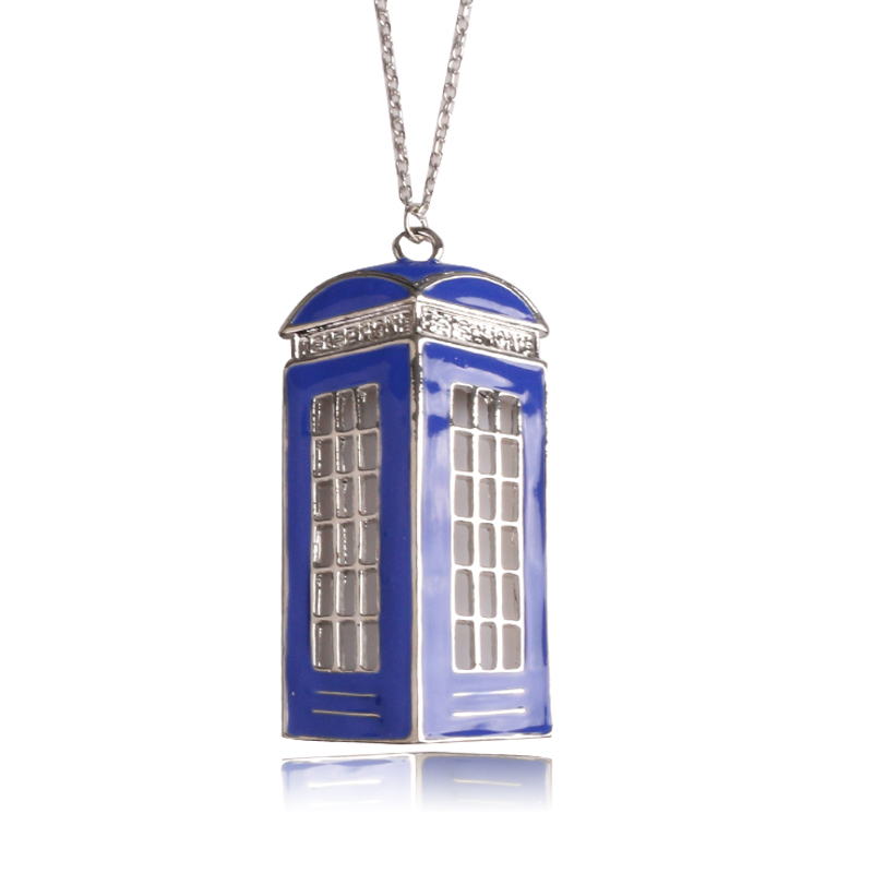 Film Doctor Who Necklace Mysterious doctor Blue telephone booth pendant necklace