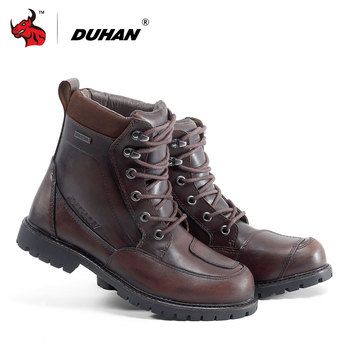 6de98cfc DUHAN chaqueta deportiva de cuero botas de motocicleta hombres impermeable Moto  botas al aire libre de