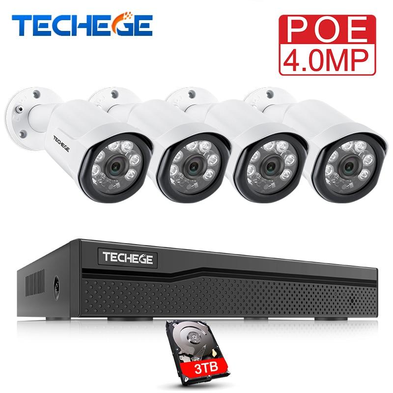 Techege 4CH комплект видеонаблюдения HD 4.0MP 2560x1440 P Открытый безопасности Камера Системы с 4x4 Мп POE IP Камера видео Системы