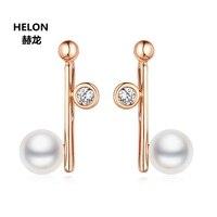 Women Natural Diamolnds Stud Earrings Solid 14k Rose Gold Freshwater Pearl Earrings Engagement Wedding Fine Earrings