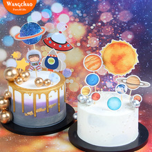 New Arrivals  Planet Cake Decoration Star Model Astronaut UFO Happy Birthday Party Supplies Baking Accessories