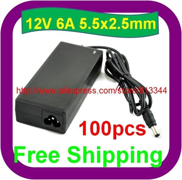 100 Stks Gratis Verzending Universele Dc 12 V 6a 72 W Voeding Lader Adapter Voor Cctv Camera Gemakkelijk Te Smeren