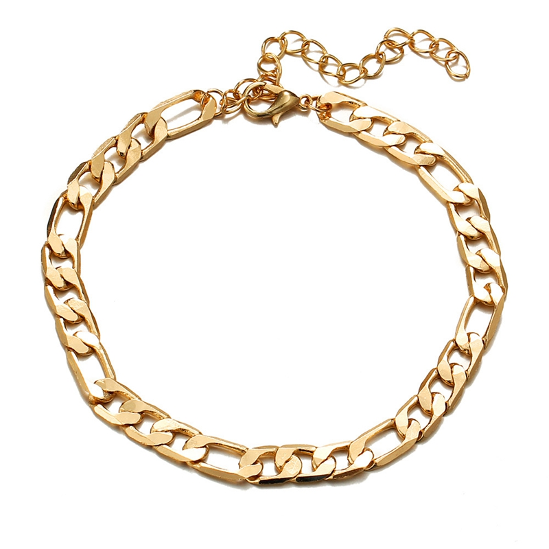 SHUANGR Vintage Golden Cuba Link Chain Anklets For Women Men Ankle Bracelet Fashion Beach Accessories Jewelry 2018(China)