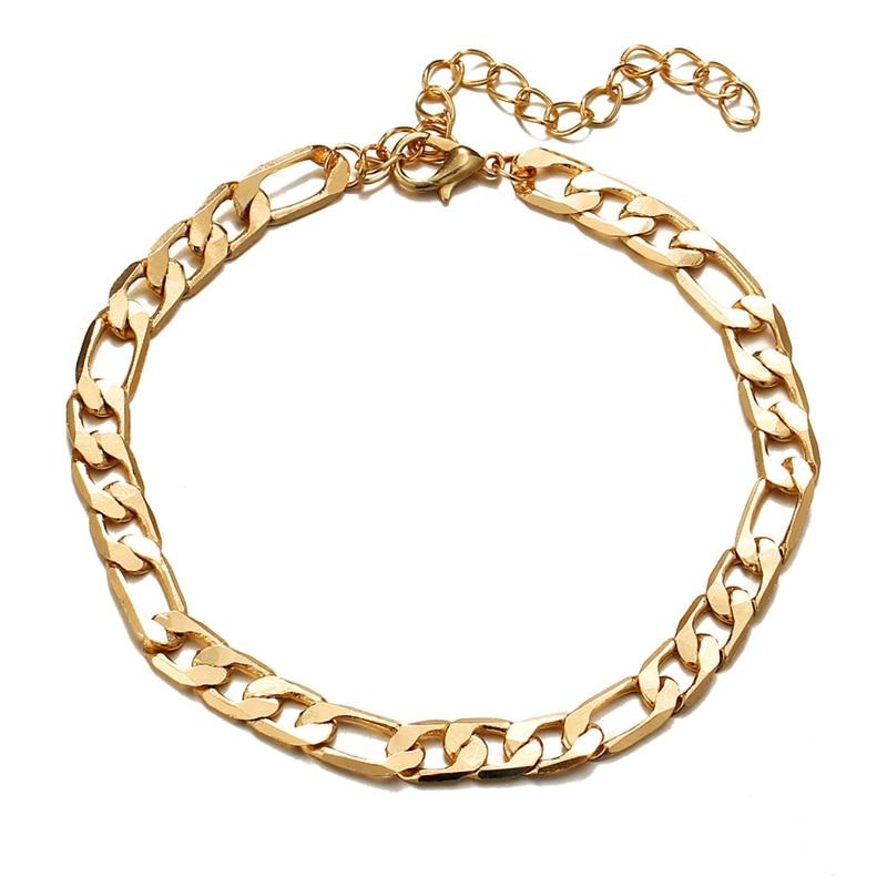 SHUANGR Vintage Golden Cuba Link Chain Anklets For Women Men Ankle Bracelet Fashion Beach Accessories Jewelry 2018