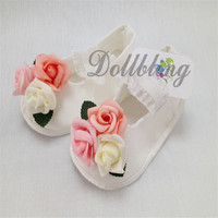 Alta Calidad Hecha A Mano de Bautizo Blanco de Princesa de La Niña de Flores Precioso Infant Elastic Band Zapatos del Pesebre Suela Blanda