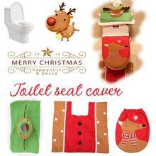 3-Piece Warm Soft Toilet Cover Seat Lid Pad Bathroom Closestool Protector Christmas Decoration Set Toilet Seat Cover Mat Cushion christmas decoration snowman pattern 3pcs toilet seat cushion cover set