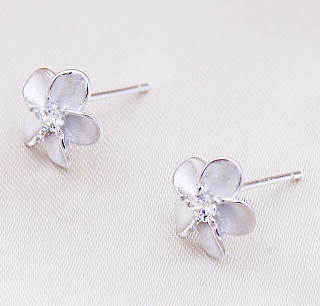 OMHXZJ WHOLESALE Fashion jewelry Alice flower contracted paw setting AAA zircon REAL S925 STERLING SILVER STUD EARRINGS YS85 in Earrings from Jewelry Accessories