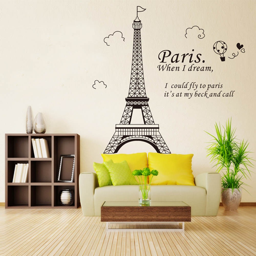US $3.28 31% OFF|Wall Stickers Paris Eiffel Tower Beautiful Wallpaper Art  Decor Mural Room Decal Removable Health Material D-in Wall Stickers from ...