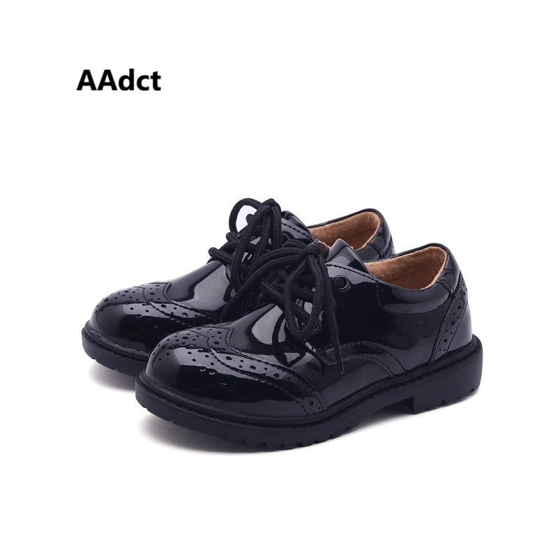 AAdct boys leather shoes British style Rock kids shoes for boys Brand High-quality Patent leather school children shoes autumn