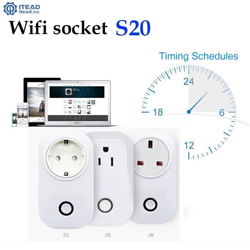 imágenes para Sonoff 2 piezas casa Inteligente Sonoff S20 temporizador wifi toma de corriente de LA UE Enchufe de LA UE, Control Inalámbrico para Android ios smartphone, domotica