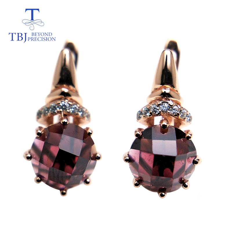 все цены на TBJ,natural red garnet round 8.0mm rose cut design earring rose color in 925 sterling silver gemstone jewelry,simple earring онлайн