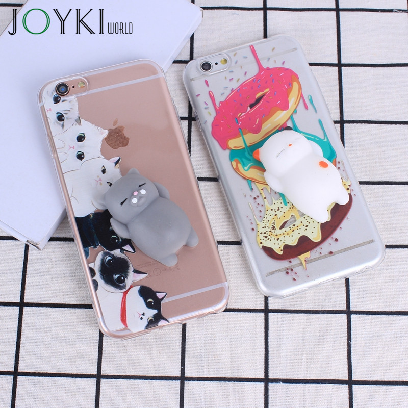Galleria fotografica Squishi animal Phone Case 3D Soft Silicone case for iPhone 6 6s 7 7Plus 5 5S SE Lovely Cat Squishy Cases