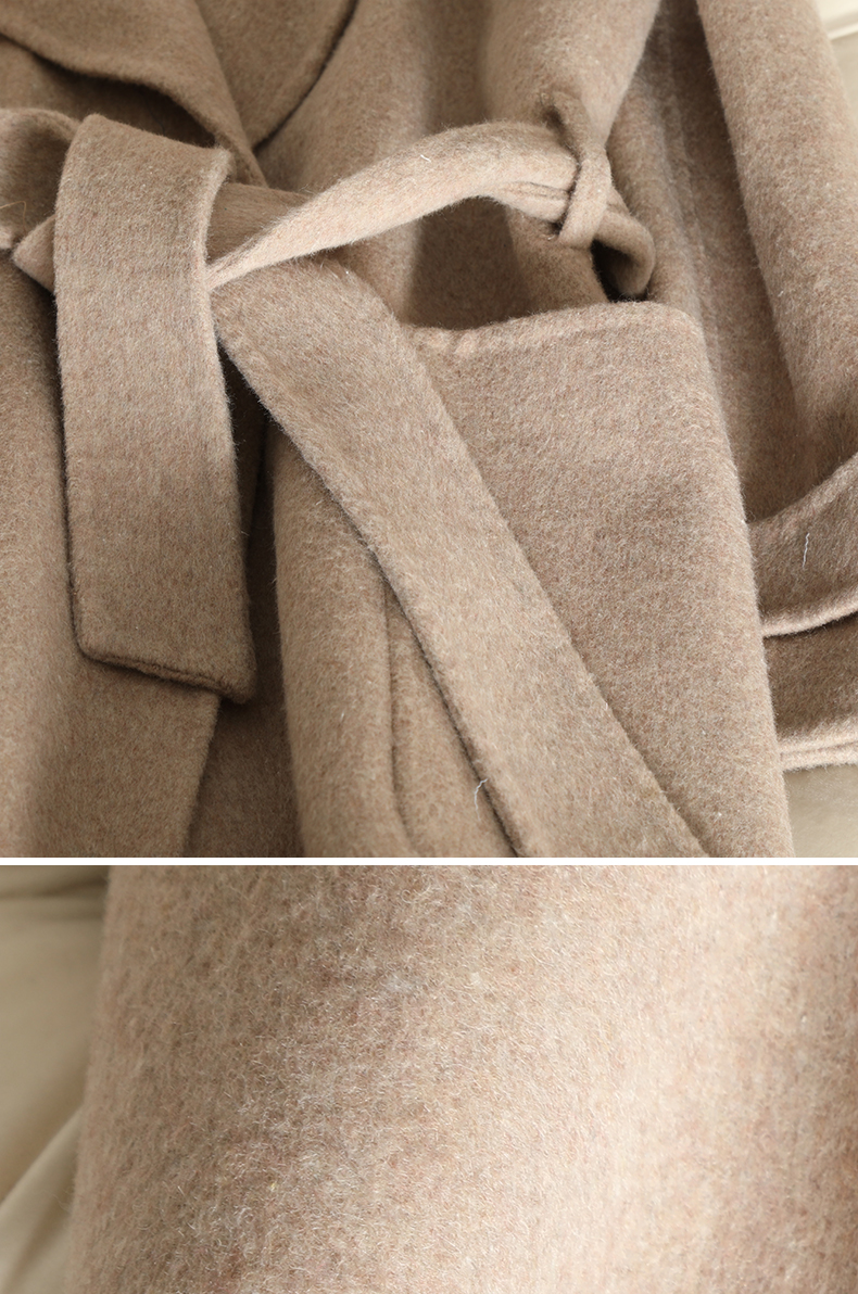 QIAN SI CHEN 19 Autumn New 100% Cashmere Coat Alpaca Warm Winter Coat Women Long Wool Coat Office Lady Slim Female Overcoat 16
