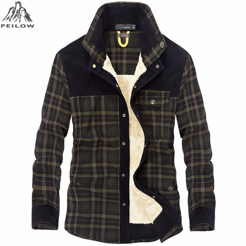 Winter Plaid Shirt Men 100% Cotton Thick Warm Fur Liner Fleece Velvet Casual Dress Shirt Male Clothing Wool Plaid Shirt Men
