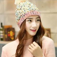2016 Fashion Woman's Warm Woolen Winter Hats Knitted Fur Cap For Woman Sooner State Letter Skullies & Beanies 6 Color