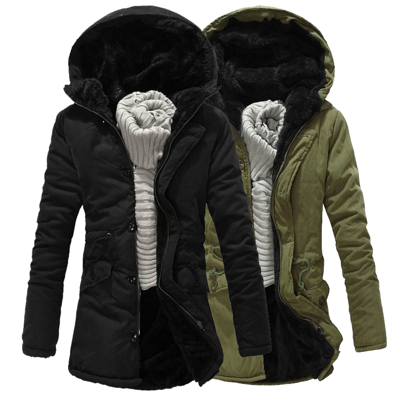 Winter jacket men Coat 2017 Fashion Thick Warm Long hooded Parka Outwear Casual Fashion Slim Fit Wadded Green Jackets XXL long section men s solid cotton padded wadded jacket fashion clothes trench coat hooded jackets casual outerwear slim parka 3xl