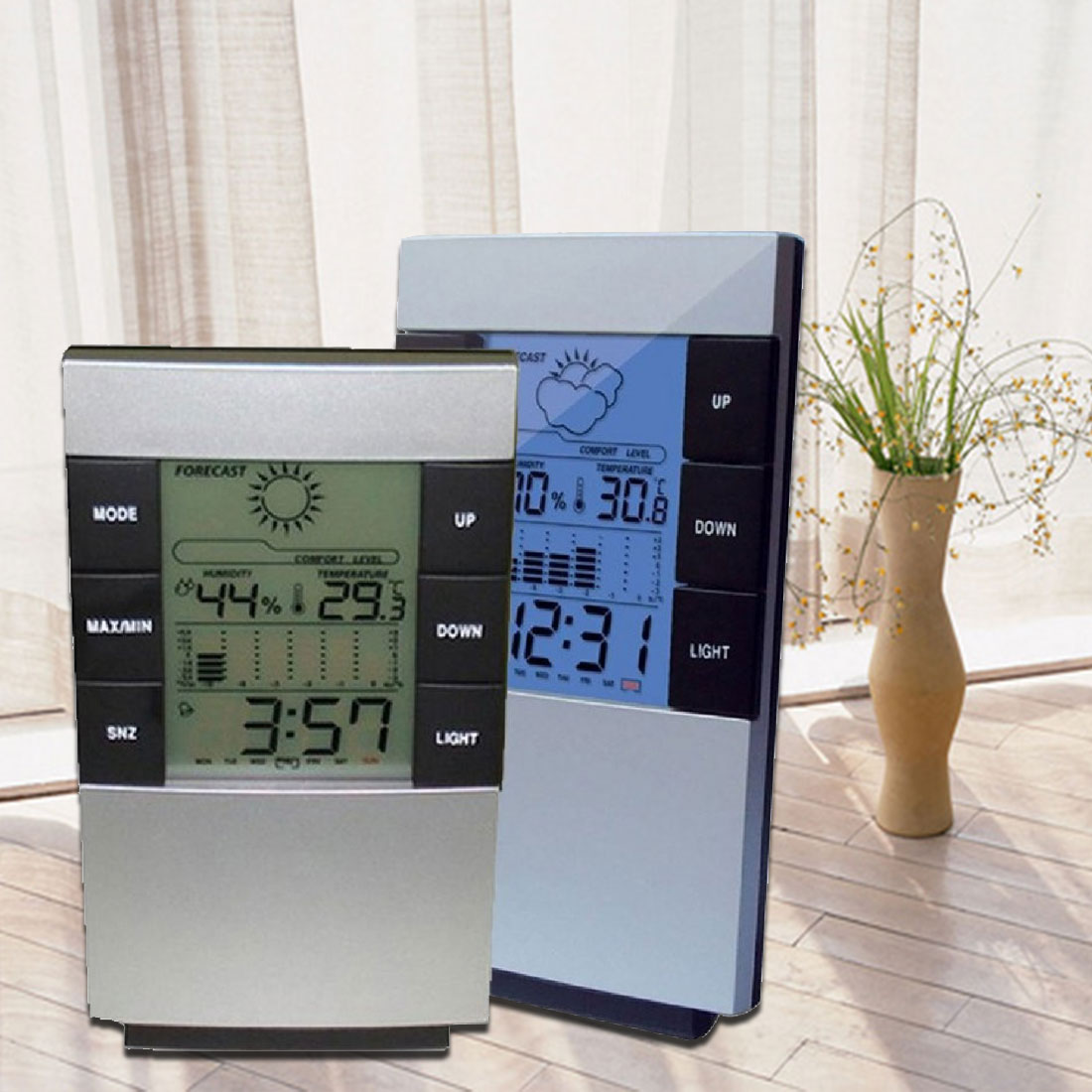 Multifunctional Home Humidity Thermometer LCD Digital Hygrometer Temperature Meter Clock Measurement Device multifunctional home humidity thermometer lcd digital hygrometer temperature meter clock measurement device