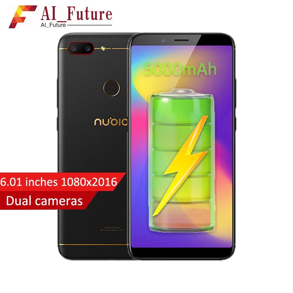 2018 D'origine ZTE Nubia N3 Téléphone Portable 4 gb RAM 64 gb ROM 5000 mah 6.01 pouces Snapdragon 625 Octa noyau D'IDENTIFICATION D'empreinte Digitale Android7.1