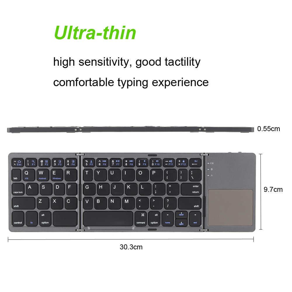 Portable Mini Ultra Slim Tipis Lipat BT Wireless Keyboard dengan Touchpad untuk iPhone iPad Macbook Ponsel Tablet PC