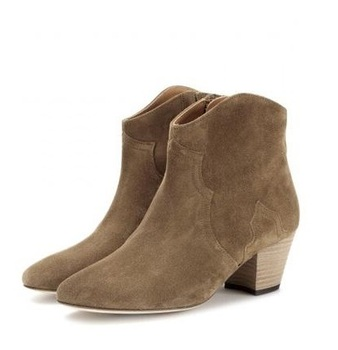 Top Quality Brown Suede Ankle Boots Square Heel Zip Short Bootie Round Toe Shallow Low Heels Ridding Boots Spring Autumn Shoes