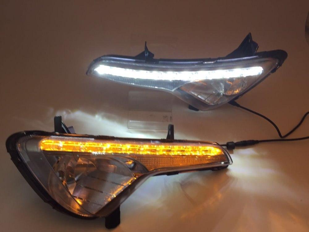 eOsuns led drl daytime running light fog lamp for Kia sportage 2010 13, yellow turn signal, blue night light, wireless control