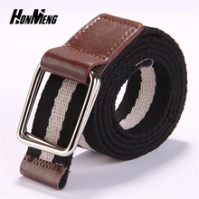 ФОТО [honmeng]the new 8 color  casual personality fashion young men's and girl double ring buckle canvas belt