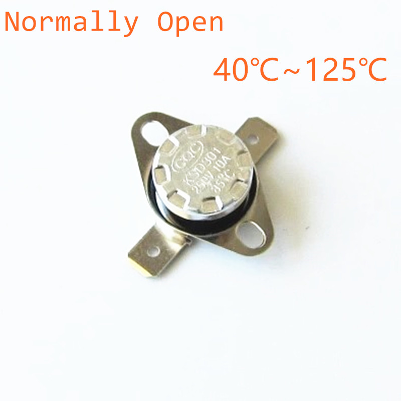10pcs KSD301 250V 10A Normally Open NO Thermostat Temperature Thermal Control Switch  40 45 50 55 60 65 70 75 80 85 90 100 125 2pcs ksd9700 250v 5a bimetal disc temperature switch n o thermostat thermal protector 40 135 degree centigrade