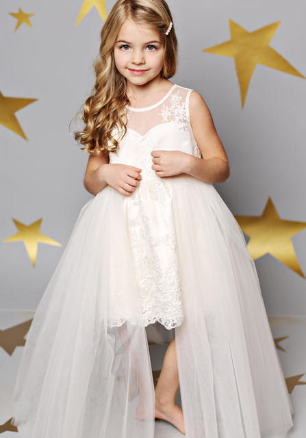 White Flower Girls Dresses For Wedding Gowns Tulle Glitz Pageant ...